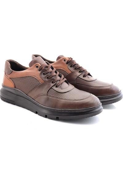 Man W666-03 Deri Yüksek Taban Erkek Casual Ayakkabı Kahverengi 45
