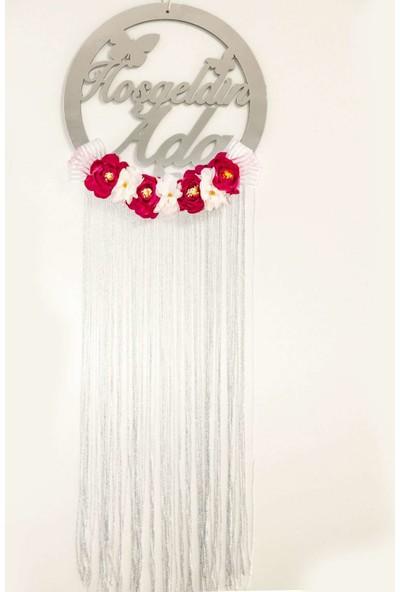 Meşgalem Isme Özel Kapı Süsü Gümüş Krem Beyaz Çiçek