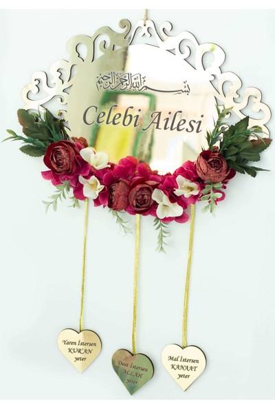 Meşgalem Kişiye Özel Kalpli Dış Kapı Süsü Gold Pleksi ve Çiçekli