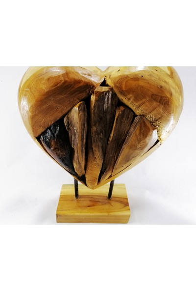 Buhana Teak Ağacı Kalp Obje