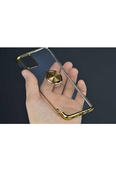 Fujimax Samsung Galaxy A51 Gess Yüzüklü Lazer Silikon Kılıf + 9H 330 Derece Bükülür Nano Ekran Koruyucu - Kırmızı