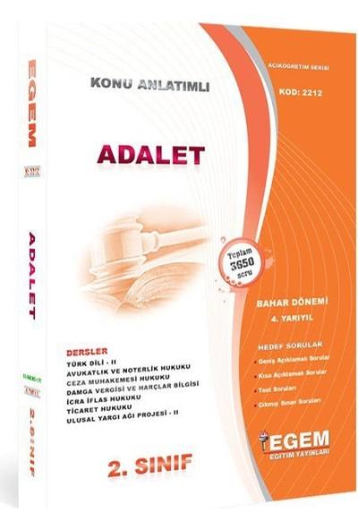 Egem Yayınları AÖF Adalet Bölümü 2. Sınıf 4 Yarıyıl Bahar Dönemi Konu Anlatımlı Soru Bankası
