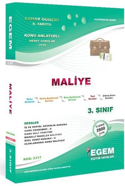 Egem Yayınları AÖF Maliye Bölümü 3 Sınıf 6 Yarıyıl Bahar Dönemi Konu Anlatımlı Soru Bankası Güncel