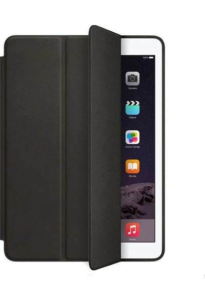 Fujimax ipad Air 1 / ipad New 9.7 2017 / New 9.7 2018 Uyku Modlu Deri Smart Kılıf + 9H 330 Derece Nano Ekran Koruyucu(A1474 A1475 A1476 A1822 A1823 A1893 A1894) Siyah