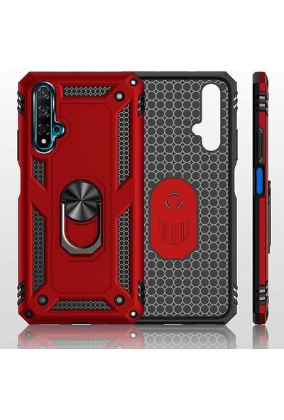 Tbkcase Honor 20 Kılıf Vega Yüzüklü Tank Kapak Kırmızı + Nano Ekran Koruyucu