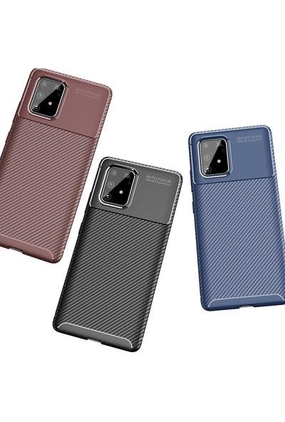 Tbkcase Samsung Galaxy A91 Kılıf Negro Karbon Dokulu Silikon Siyah + Tam Kapatan Ekran Koruyucu