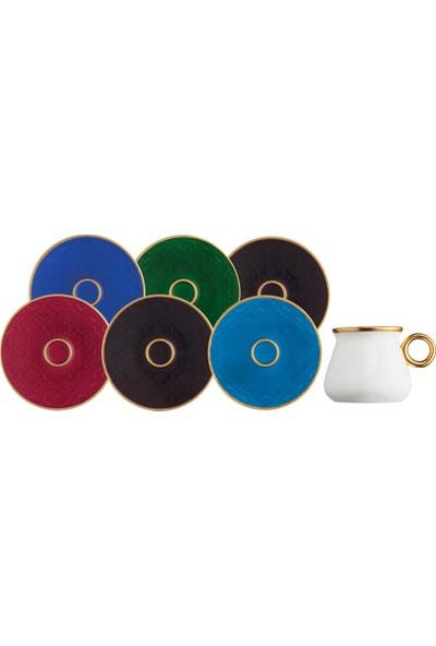 Glazze Marina 6 Renk Porselen Kahve Seti 12 Parça
