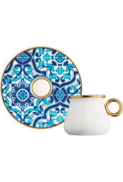 Glazze Nakkaş Porselen Kahve Seti 12 Parça