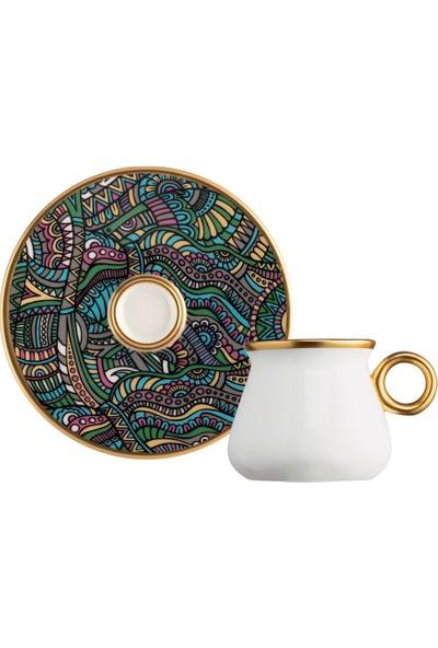 Glazze Violet Porselen Kahve Seti 12 Parça