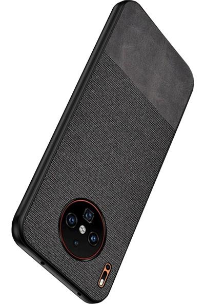 Microcase Huawei Mate 30 Pro Fabrik Serisi Kumaş/Deri Desen Kılıf Siyah