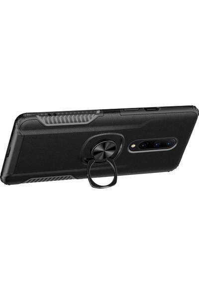 Microcase OnePlus 7 Pro Rome Serisi Yüzük Standlı Armor Kılıf Siyah