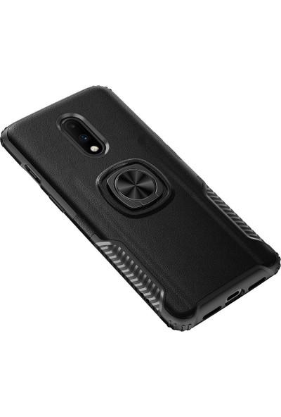 Microcase OnePlus 7 Rome Serisi Yüzük Standlı Armor Kılıf Siyah