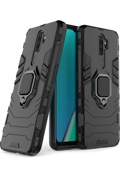 Microcase Oppo A5 2020 - A9 2020 Batman Serisi Yüzük Standlı Armor Kılıf Siyah