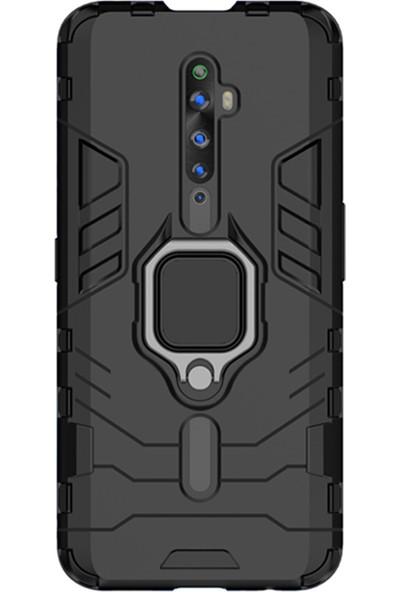 Microcase Oppo Reno 2Z Batman Serisi Yüzük Standlı Armor Kılıf Siyah