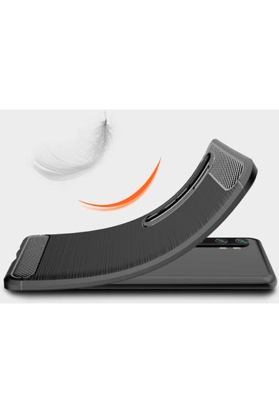 Microcase Xiaomi Mi Note - Mi Note 10 Pro Brushed Carbon Fiber Silikon Kılıf Siyah