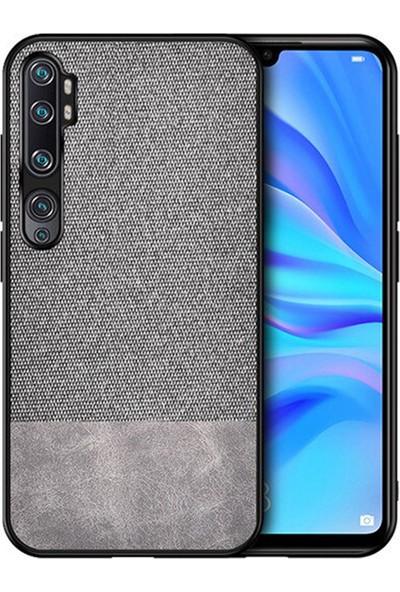 Microcase Xiaomi Mi Note 10 - Mi Note 10 Pro Fabrik Serisi Kumaş/Deri Desen Kılıf Gri