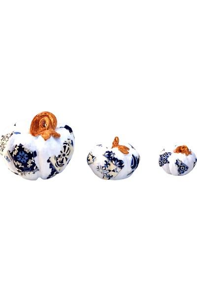 Lime Art Shop Dekoratif Çini Desenli Bal Kabağı 3'lü Set