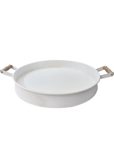 Pazar İstanbul Metal Ahşap Saplı Tepsi Beyaz 38 cm