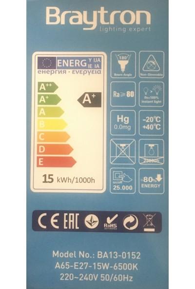 Braytron LED Ampül E27 Duy 15 W=92 W Beyaz IŞIK 6500K 1320LM BA13-0152