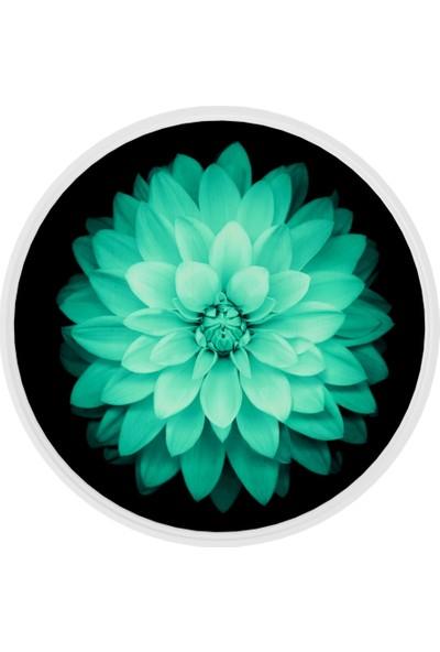 Onelineavm Dijital Çiçek Baskılı Yuvarlak Ahşap Zigon Sehpa