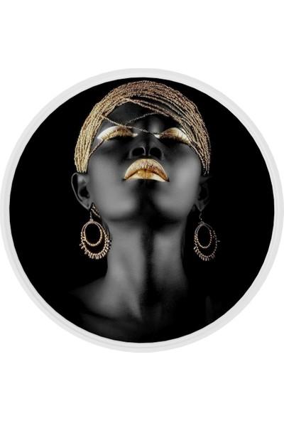 Onelineavm Dijital Black Woman Baskılı Yuvarlak Ahşap Zigon Sehpa