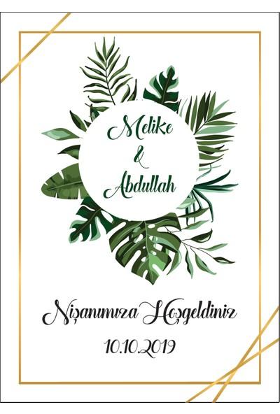 Mutluluk Atölyem Kişiye Özel Baskılı Kına, Nişan, Nikah, Düğün Söz Afişi Tropikal Yaprak 2