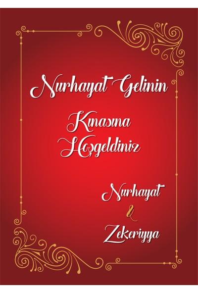 Mutluluk Atölyem Kişiye Özel Baskılı Kına, Nişan, Nikah, Düğün Söz Afişi Kırmızı Yaldızlı
