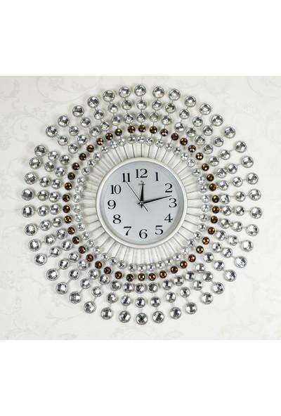 Galaxy Ferforje Taşlı ElmasDuvar Saati Gümüş