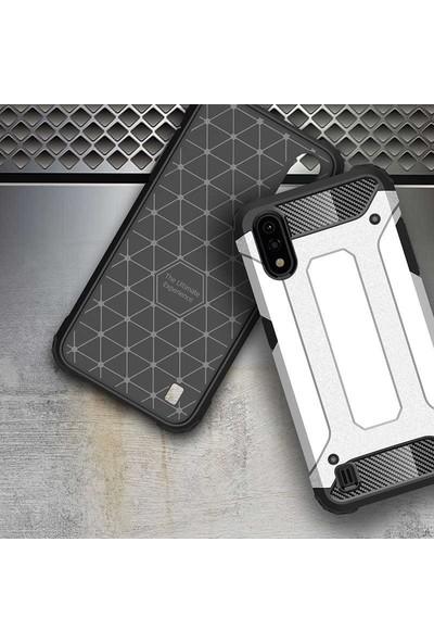 Teleplus Samsung Galaxy A01 Armor Tank Kapak Gümüş