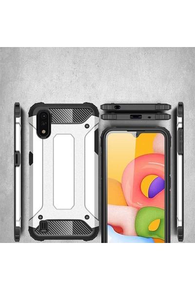 Teleplus Samsung Galaxy A01 Armor Tank Kapak Siyah + Nano Ekran Koruyucu