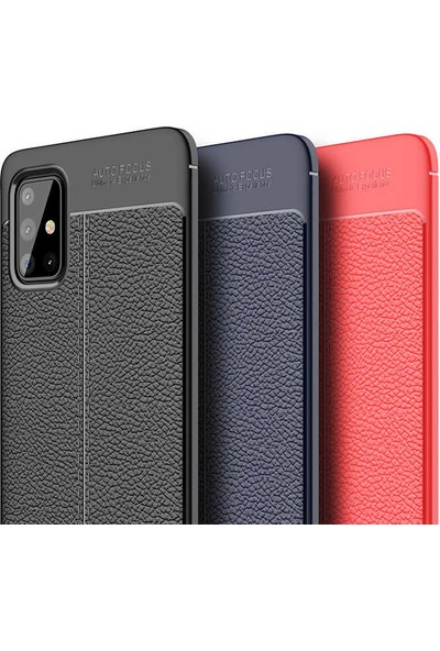 Fujimax Samsung Galaxy A01 Niss Deri Görünümlü Darbe Emici Özellikli Silikon Kılıf + Kenarları Tam Kapatan Temperli Ekran Koruycu - Kırmızı