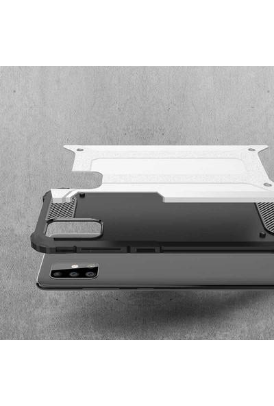 Fujimax Samsung Galaxy A01 Crash Sert Kaplamalı Zırh Özellikli Silikon Kılıf + Kenarları Tam Kapatan Temperli Ekran Koruycu - Mavi