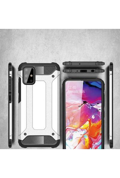 Fujimax Samsung Galaxy A01 Crash Sert Kaplamalı Zırh Özellikli Silikon Kılıf + 9H 330 Derece Bükülür Nano Ekran Koruyucu - Mavi