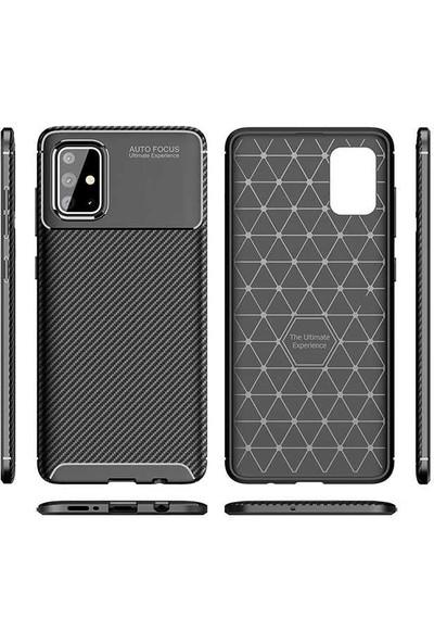 Fujimax Samsung Galaxy A01 Negro Karbon Tasarım Silikon Kılıf - Siyah