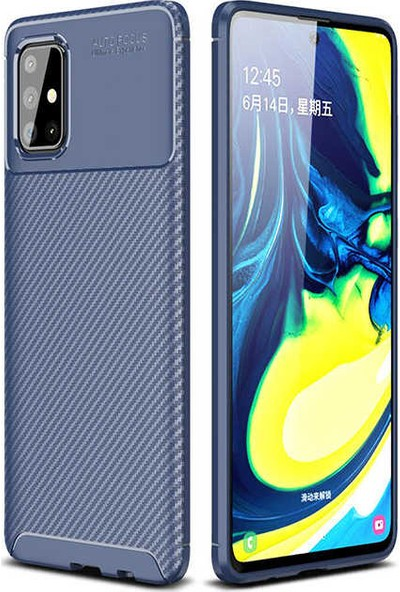 Fujimax Samsung Galaxy A81/Note 10 Lite Negro Karbon Tasarım Silikon Kılıf + 9H 330 Derece Bükülür Nano Ekran Koruyucu - Lacivert