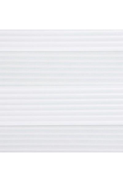 Liforida Geniş Pilise Beyaz Zebra Perde Stor