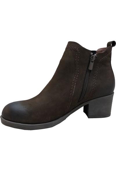 Scavia 636 Nubuk Fermuarlı Kadın Bot Maxsens Ayakkabı