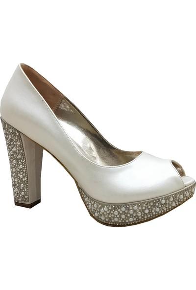 Smilee 4351 Alçak Topuk Platform Topuklu ve Taşlı Zarif Kadın Ayakkabı