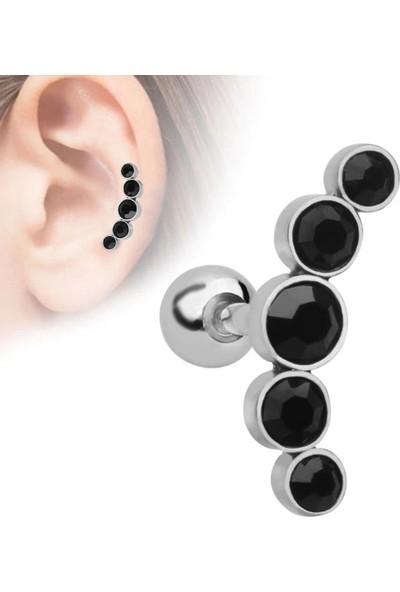 VipBT Helix Tragus Lobe 16G Paslanmaz Çelik 5 Kristalli Kıkırdak Küpe Piercing Siyah