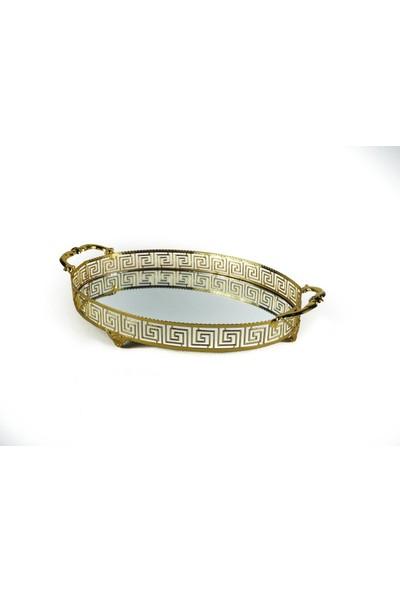 Krm Oval Versace Kulplu Tepsi 40 cm