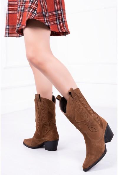 Tarçın Deri Günlük Saman Süet Kadın Topuklu Çizme TRC126-0515