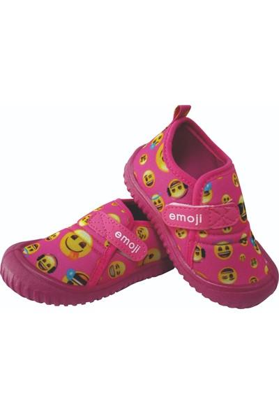 Gezer TRC22-0029 Günlük Çocuk Streç Fuşya Emoji Cırtlı Ev Ayakkabısı