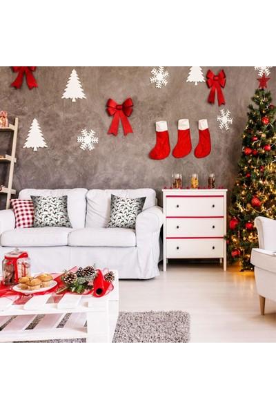 Henge Noel Yılbaşı Siyah Yeşil Kırmızı Ekose Geyik Desenli Yastık Kırlent Kılıfı 35 x 45 cm