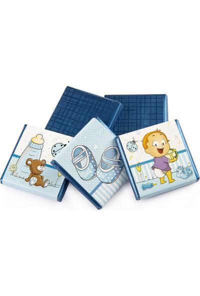 Melodi Çikolata Sargılı Sütlü Madlen Mavi 500gr - Erkek Bebek Çikolatası