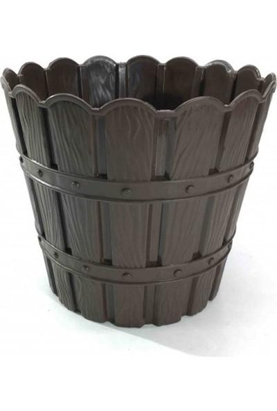 Barok Violet 1047 Kahverengi Barok Bambu Desenli 5 lt Plastik Saksı