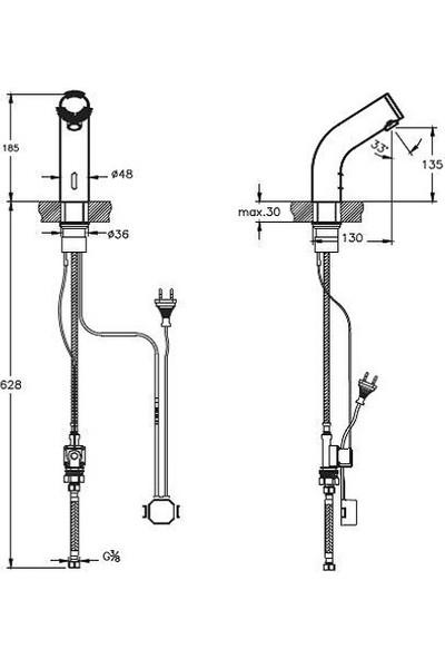 Punto Figo Fotoselli Elektrikli Tek Su Girişli Lavabo Bataryası A47175