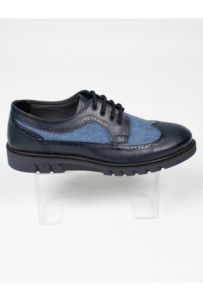 Deepsea Erkek Mavi Hasır İşlemeli Bağcıklı Deri Ayakkabı 2006415