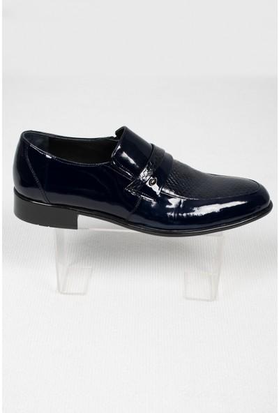 Deepsea Erkek Lacivert Balık Sırtı Desenli Klasik Deri Ayakkabı 2001049