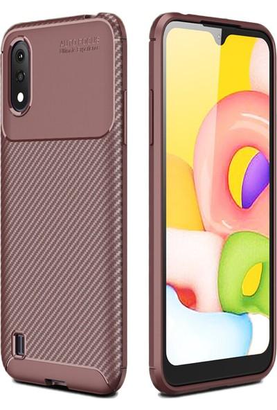 Coverzone Samsung Galaxy A01 Kılıf Karbon Delüx Tpu Silikon DLX Kahverengi
