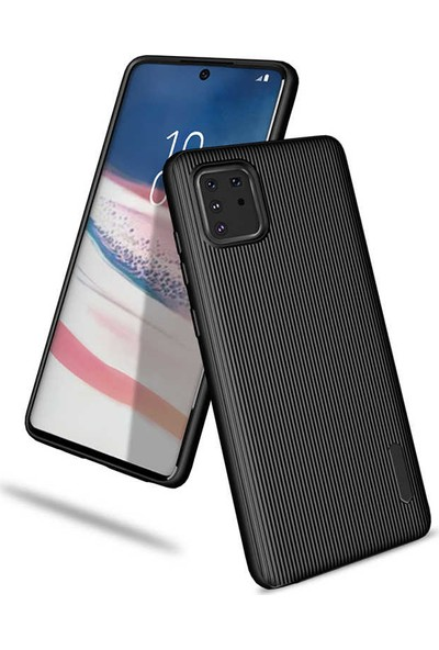 Happyshop Samsung Galaxy Note 10 Lite Kılıf Ultra Korumalı Çizgili Tio Silikon + Cam Ekran Koruyucu Siyah